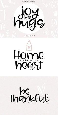 Joy & Hugs Handwritten Script Font - with doodle extras! Handwritten Script Font, Script Logo, Geometric Font, Commercial Use Fonts, Doodle Fonts, Cute Fonts, Cute Poster, Cricut Fonts, Vintage Fonts