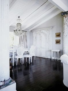 living room design idea - Home and Garden Design Ideas These 9 Painted Floors Are Bringing Sexy Black Caravan Dog House // Luxury House Desi. White Interior, House Design, Living Room Designs, White Furniture, Home Decor, House Interior, Black Wood Floors, Room Design, White Decor