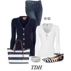 Stripes by talvadh on Polyvore Navy outfit