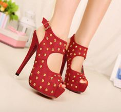 Free Shipping Fashion Sexy Punk Rivet Fish Mouth Waterproof High Heel Sandal For Lady