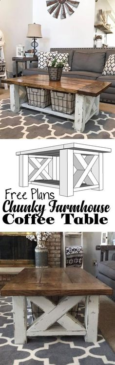 How TO : Build a DIY Coffee Table - Chunky Farmhouse - Woodworking Plans #rusticfamilyroomdesign