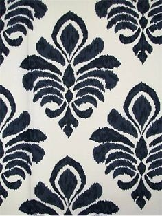 """Elan Damask Indigo Crypton Fabric.  Crypton Fabric for durable upholstery, window treatments, dog beds, top of the bed or any home décor fabric project. Resists stains and odors. Easy to clean. Long lasting durability. Transitional ikat pattern. 30,000 double rubs. 100% cotton. Repeat; V 13.5"""" - H 13.5"""". 54"""" wide."""