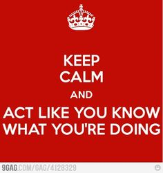 Keep calm and act like you know what you're doing