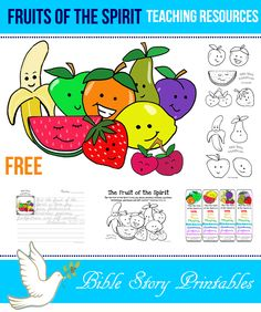 Fruit of the Spirit Printables, Teaching Resources, Coloring Pages, Copywork, Bookmarks, Visuals, Games and More.  Free at Bible Story Printables: http://www.biblestoryprintables.com/BiblePrintablesFruitoftheSpirit