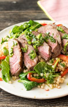 Argentine-Spiced Steak with Scallion Chimichurri and Spinach Couscous Salad | HelloFresh Recipe