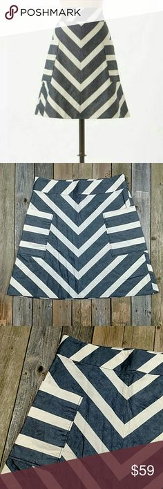 """Postmark for Anthro Endpoint Chevron Skirt A-line Chevron skirt with side zipper and pockets. Unlined and no stretch. About 21"""" waist to hem and 17"""" across waist; laid flat. No trades! EUC Anthropologie Skirts"""