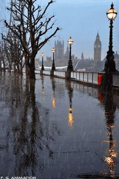 London, England - a view of the Thames River and Big Ben in the rain. Can't Wait London, Paris, And Wales Oh The Places You'll Go, Places To Travel, Places To Visit, Autumn Rain, Winter Rain, Rain Photography, White Photography, London England, England Uk