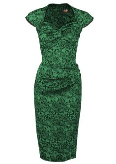 Foxy Lady 50s Wiggle Dress - emerald brocade - Fashion 1930s, 1940s & 1950s style - vintage reproduction
