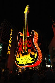 Looking for the Hard Rock Cafe at Universal Citywalk?  Head toward the giant Eddie Van Halen guitar which is especially easy to see at night.  We took this picture on an Elite Adventure Tours after dark tour of Los Angeles and Hollywood.  Our guests always enjoy walking through this entertainment and shopping mall.  It is great fun!