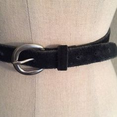 "Vintage 50s Black Suede Sterling Silver Dress Belt This belt is really cute very simple. Perfect for any vintage dress skirt or jeans. It is in pristine condition. Suede is soft and flexible. Buckle is Sterling silver. Ink black color. Size us minimum waist of 28"" maximum waist of 32"" true 1950's vintage. Vintage Accessories Belts"