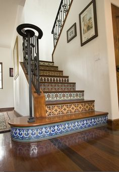 This site has a lot of cool ideas for staircases... http://www.houzz.com/photos/79809/Los-Angeles-remodel-1-mediterranean-staircase-los-angeles