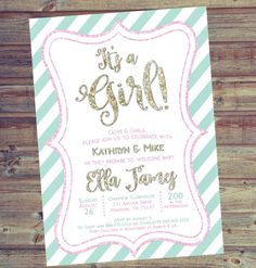 $12.50 Co-Ed Baby Shower Invitation  5x7 Digital Download by LooksLikeGlitter on Etsy | Pink | Mint | Gold | Glitter | Baby | Shower | Party
