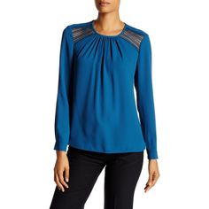 Anne Klein Long Sleeve Blouse ($40) ❤ liked on Polyvore featuring tops, blouses, juniper, blue long sleeve top, blue long sleeve blouse, anne klein, scoop neck blouse and anne klein blouses