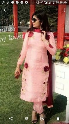 Combination of peach and mahroon Embroidery Suits Punjabi, Embroidery Suits Design, Embroidery Dress, Embroidery Kits, Designer Punjabi Suits, Indian Designer Wear, Salwar Designs, Blouse Designs, Indian Dresses