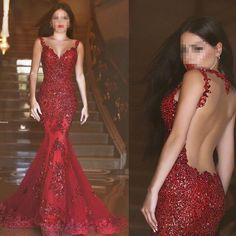 Rote Meerjungfrau V-Ausschnitt Spitze Brautkleider Hochzeitskleid Abendkleider in Kleidung & Accessoires, Hochzeit & Besondere Anlässe, Brautkleider | eBay!