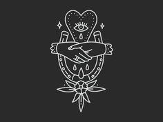 Being As An Ocean merch design by Corinne Alexandra | good luck, handshake, horseshoe, minimal, tattoo