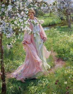 HERBERT ARNOULD OLIVIER - A lady in the garden