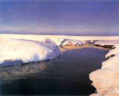 """Śnieg"" [Snow] by Julian Falat 1907 Winter Painting, Winter Art, Abstract Landscape, Landscape Paintings, Landscapes, Gouache, Prince, Snow Art, Traditional Landscape"
