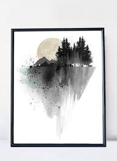 Watercolor modern mountain print by WhiteDoePrints #home #decor #print #watercolor #mountain #modern #blackandwhite