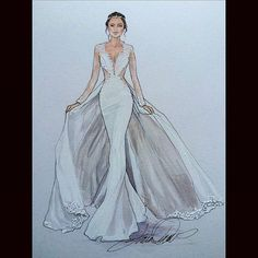 A revisit to a stunning Berta Bridal- bertabridal weddingfactor Wedding Dress Illustrations, Wedding Dress Sketches, Design Illustrations, Fashion Illustrations, Fashion Drawing Dresses, Fashion Illustration Dresses, Drawing Fashion, Fashion Design Drawings, Fashion Sketches