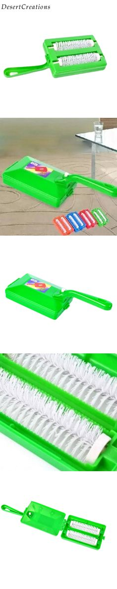 Handheld Carpet Table Crumb Sweeper Plastic Dual Brush Cleaner Home Cleaning Tools Random Color