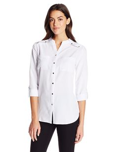 5fc95b456403 Women s Long Sleeve Rolled To 3 4 Mandarin Collar Shirt - White -  C512GG11D1X. Mandarin Collar ShirtWomen Button Down ...