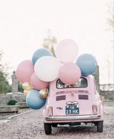 Vintage pink car and balloons. #TheJewelleryEditorLoves #PinkandPurple