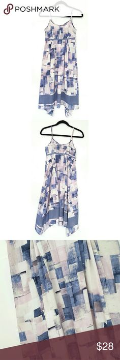 Simply Vera Lavender Block Dress Simply Vera, lavender/pink/gray, abstract block print, empire waist, asymmetrical style dress, adjustable spaghetti straps, excellent like new condition, size xs. Simply Vera Vera Wang Dresses