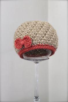 Crochet Bow Hat Infant Hat Baby Hat Beige Hat by ZawiHatsAndMore
