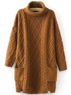 Robe pull tricoté en câble col roulé avec poche - kaki -French SheIn(Sheinside)