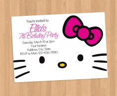 Hello Kitty Pink Bow Face Invitation by HKInvites on Etsy https://www.etsy.com/listing/456603012/hello-kitty-pink-bow-face-invitation