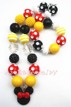 Red Knot Yellow&Black&Red Chunky bubblegum girls necklace&bracelet setCB282 #Beegirl #Animal