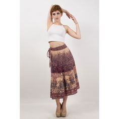 Indian cotton block printed wrap skirt / 70s Vintage mama and baby deer skirt XS-L by CarlaAndCarla on Etsy