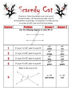 Printables Parallel Lines And Transversals Worksheet math student and science on pinterest this product is a coloring activity that has the looking at angle relationships parallel lines cut by transversal
