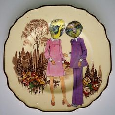 Terry Angelos - New Bohemians, Illustration and Collage on Vintage Plate Vintage Plates, Decorative Plates, Collage, Tableware, Illustration, Van, Home Decor, Vintage Signs, Collages