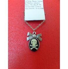 Black & White Skull & Cross Bones Cameo Tattoo Necklace