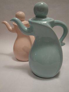Pastel Whimsical Dancing Retro Tea Pots by Lifeinmommatone on Etsy
