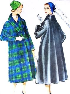 1950s BEAUTIFUL Full Back Swing Coat Pattern McCALLS 4192 Day or Evening Lovely Coat Bust 40 Vintage Sewing Pattern FACTORY FOLDED