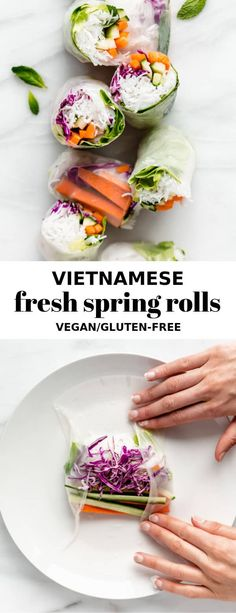 After making this recipe you'll wonder why you haven't been making fresh spring rolls at home all the time! Vietnamese Fresh Spring Rolls These Vietnamese spring rolls are loaded with vegetables and have a peanut butter dipping sauce on the side! Healthy Spring Rolls, Vegetable Spring Rolls, Side Dish Recipes, Asian Recipes, Healthy Recipes, Vietnamese Recipes, Healthy Cooking, Yummy Recipes, Vegetarian Recipes