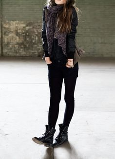 dark sweater, dark scarf, leather jacket - pair with any dark bottoms and of course, combats