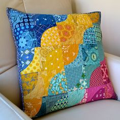 At the Beach Pillow, gorgeous bright colours, interesting curves in squares.