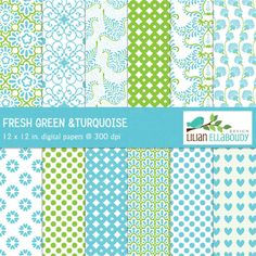 Green and Turquoise Digital Papers - beautiful papers for scrapbooking, card making, invitations, paper goods and more.