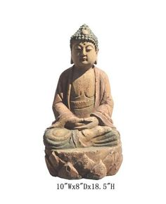 """Chinese Antique Wooden Carving Sitting Peaceful Buddha Statue WK2461    This is a Chinese antique wooden Buddha statue which is made of solid elm wood.  Look at the peaceful face and sitting on lotus position, it is perfect to put at your entrance of hall way.    Outside Dimensions: 10""""Wx8""""Dx18.5""""H  Origin: Northern China  Material: Solid Elm Wood"""