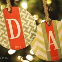 Monogrammed Holiday Ornaments...SO cute!!