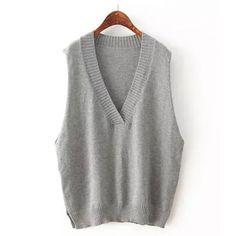 Loose Sleeveless Pullover V-Neck Knitting Vest Sweater For Women