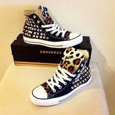 Studded chucks with leopard