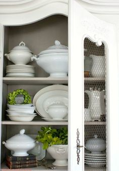 How to Style shelves like a pro. Antique French armoires, bookshelves, open cupboards or bookshelves, displayed with dishes, your French Country collection, or books.