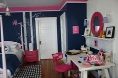 pink and navy teen room | Navy Pink Teen Bed Room Decor! | My Old Country House