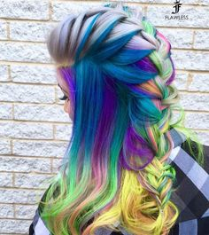 "6,419 Likes, 32 Comments - Hair Makeup Nails Beauty (@hotonbeauty) on Instagram: "" #shoutoutsunday Beautiful Neon Color design and Colorful braided style by @glamhairbymarie…"""