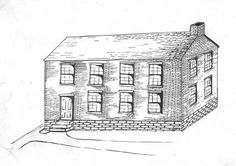 Academy Building sketch. Sketch of what the Academy Building might have looked like. The Academy Building was the first building of the Ohio University campus. It was a two story, two room, 24 x 30 feet brick building and stood on the east side of the College Green between Galbreath Chapel and University Terrace. A granite column with plaque topped with the Sundial marks the spot.  :: Ohio University Archives